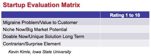 Startup Evaluation Matrix - Kevin Kimle - Iowa State University