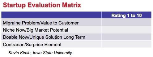 Startup Evaluation Matrix - Kevin Kimle - Iowa State University